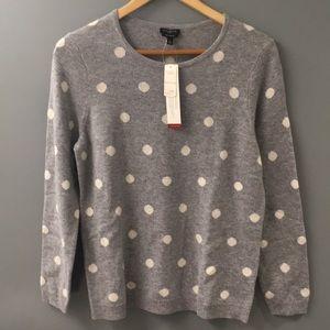 Talbots grey polka dot cashmere sweater